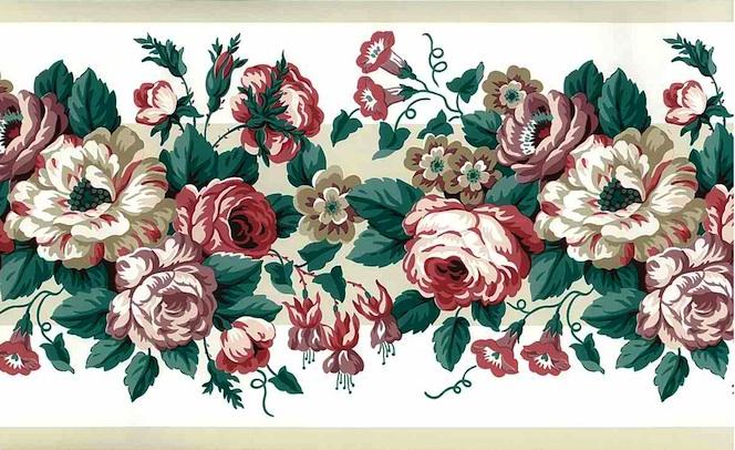 Waverly Roses Vintage Wallpaper Border Pink Rose Lavender 561802