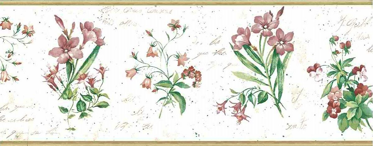 botanical script vintage wallpaper border,French,italics,pink,rose,green,cream