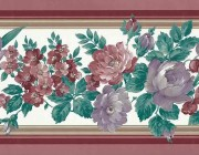 floral vintage wallpaper border, alternate view, roses, tulips, anemones, red, pink, rose, lavender, green, white
