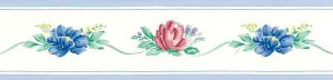 small scale floral vintage wallpaper border, cottage,red, blue, green, white