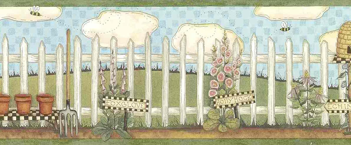 Skeps Beehive Vintage Wallpaper Border Picket Fence Floral ALB3747