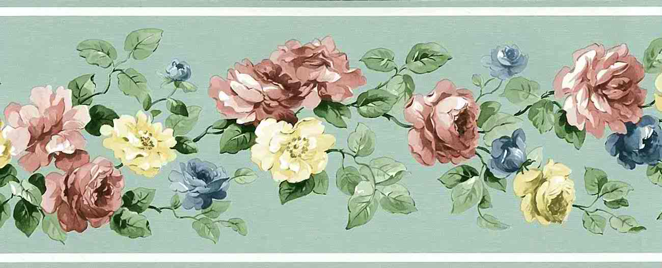 Mint Green Vintage Wallpaper Border Roses Floral Pink Blue Yellow