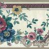 floral urn vintage wallpaper border, roses, asters, taupe, cream