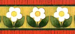 small daisies vintage wallpaper border, white, red, green, black, brown, faux finish