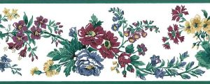 old-fashioned vintage floral wallpaper border, leaves red, green, blue, yellow, white, Summer