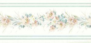 Floral satin vintage wallpaper border, blue, gray, white, flowers, cottage