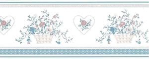pink stencil vintage wallpaper border, blue, off-white, Sanitas, textured, heart, lattie floral