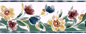 Spring floral vintage wallpaper border, mid-century, cottage red, blue, green, yellow, white
