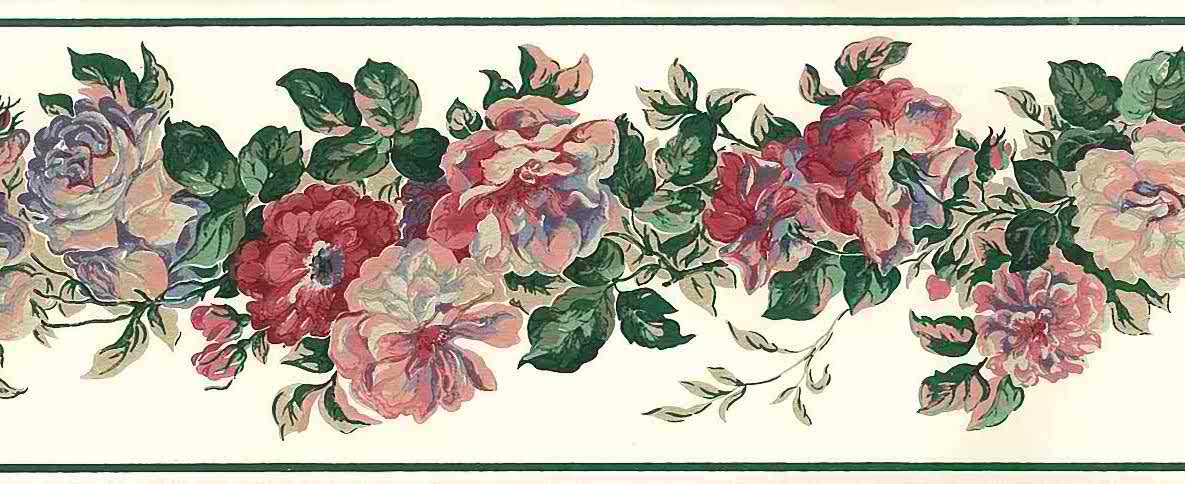 rose peonies vintage wallpaper border, pink, blue, green, off-white, embossed