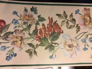 vintage wallpaper border fruit floral, green, cream, grapes, cherries, kitchen
