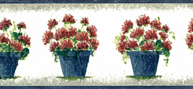 geraniums vintage wallpaper border, red, blue, off-white, gray, faux finish, cottage style