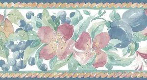 lilies vintage wallpaper border plums