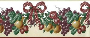 red ribbon vintage wallpaper border,check,bow,grapes,roses,ivy,purple,yellow,green,textured