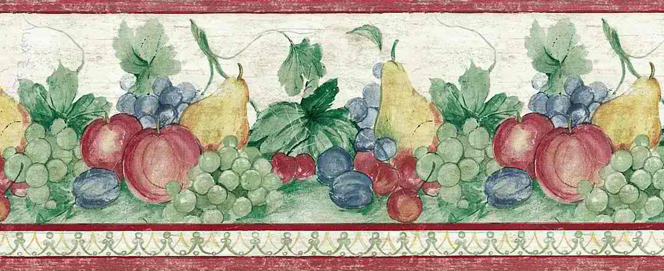 grapes fruit vintage wallpaper border pears plums red