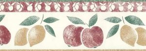 lemons apples vintage wallpaper border, red, green, yellow off-white, textured