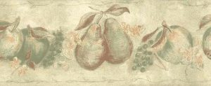 orange green fruit vintage wallpaper border, apples, peaches, pears, grapes, beige, faux finish, cottage style
