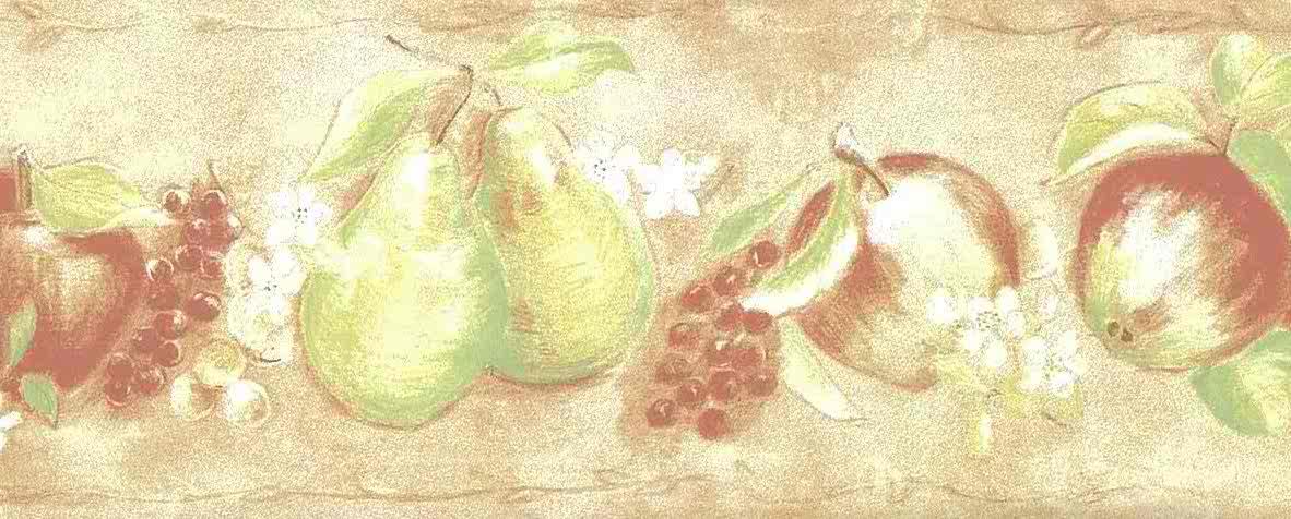 Peach Fruit Vintage Wallpaper Border Green Kitchen Te9241 B