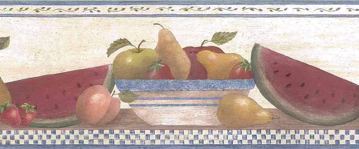 Vintage Wallpaper Fruit Border Apple Pear Kitchen 245B57484 FREE Ship