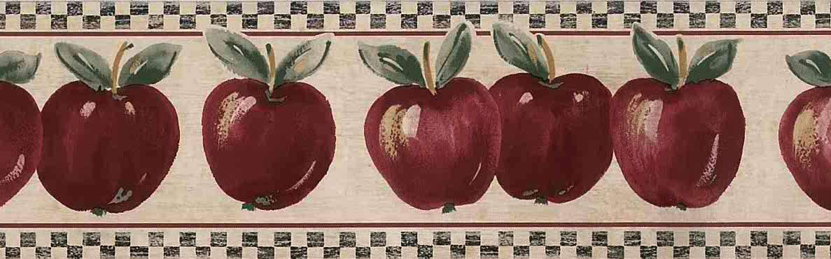 Red Apples Vintage Wallpaper Border Cottage Style Kitchen FREE Ship