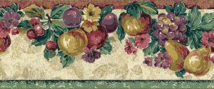 vintage wallpaper border fruit, flowers, kitchen, floral, pears, peaches, grapes, cherries, plums, green, red, yellow, purple,