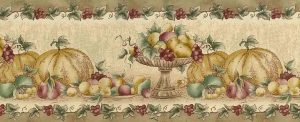 fall fruit vintage wallpaper border, kitchen, beige, green, red, faux finish, kitchen
