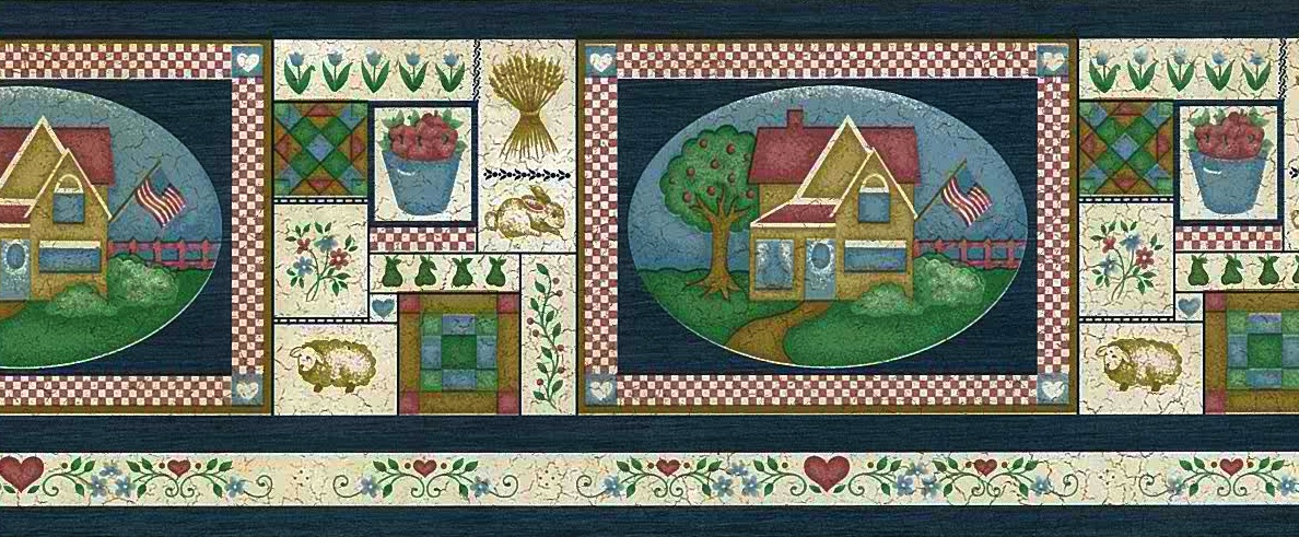 Americana country vintage wallpaper border,farmhouse, American flag, stencils, apples, tulips, hearts, red, navy, blue, green, cream crackle