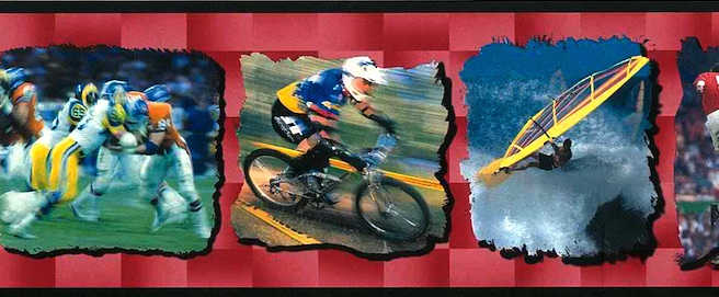 sports vintage wallpaper border surfing, football, soccer, cycling, board sailing. red, black