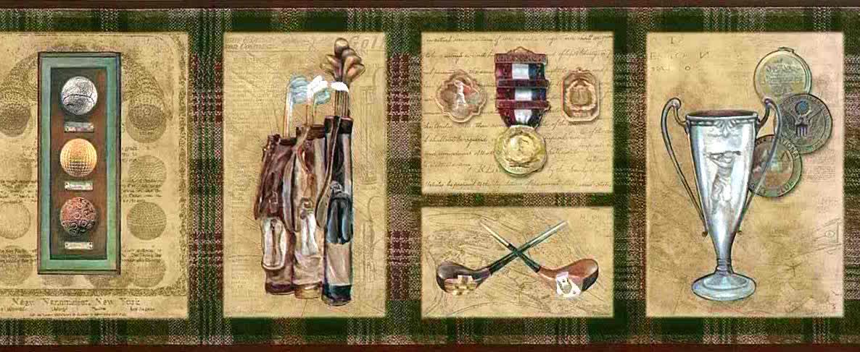golf sports wallpaper border, plaid, script, golf clubs, red, brown, green