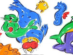 Sally Huss fish vintage wallpaper border, vintage, walrus, porpoise, dolphin, seahorse, red, blue, green, orange, white, black