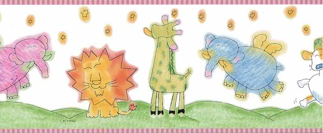 KIKMU Animals Kids wallpaper border lion, giraffe, elephant, pink, green, yellow, blue, orange, white
