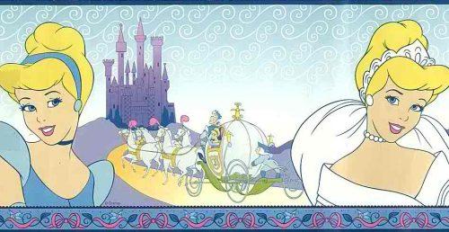 Cinderella Disney Wallpaper Border, blue, purpe, kids, girls, princess