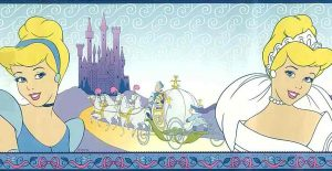 Disney Princess Wallpaper Border, Cinderella, blue, purple, white, girls, children, princess