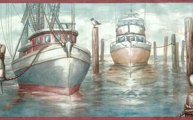 fishing vessels boats wallpaper border, rose, blue, gray, cream