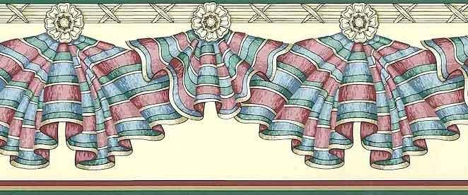 Striped Drapery Swag Vintage Wallpaper Border on Cream