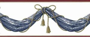 Blue Drapery Swag Wallpaper Border with Gold Tassels