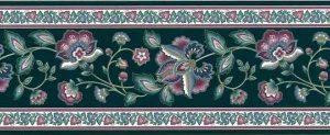 Vintage Green Paisley Wallpaper Border with Rose & Slate Blue