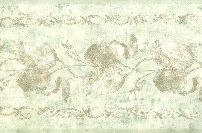 Vintage Cream Floral Wallpaper Border with Texture & Embossing