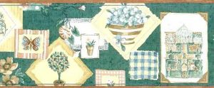 Vintage Green Sampler Border with Greenhouse Items