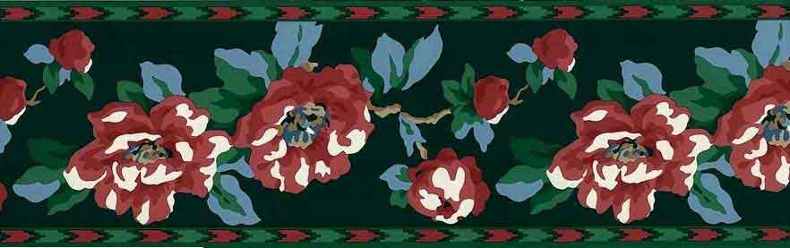 Vintage Waverly Southwest Floral Wallpaper Border in Red, Green, & Blue