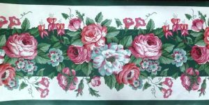 Green Waverly Floral Wallpaper Border with White & Pink