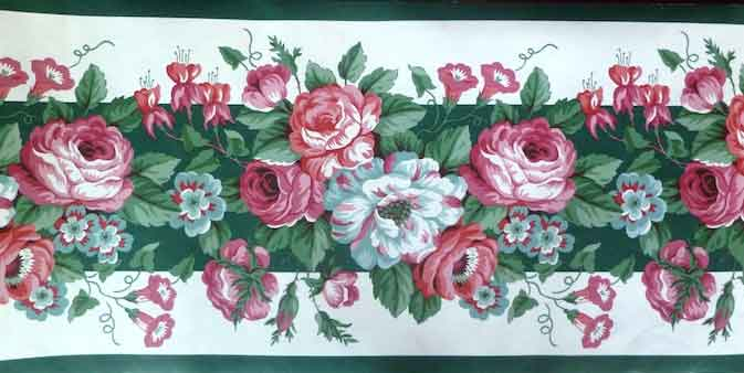 Green Waverly Floral Vintage Wallpaper Border Pink Roses White 561801