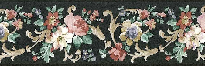 Black Floral vintage Wallpaper Border, Gold, Cream, Pink