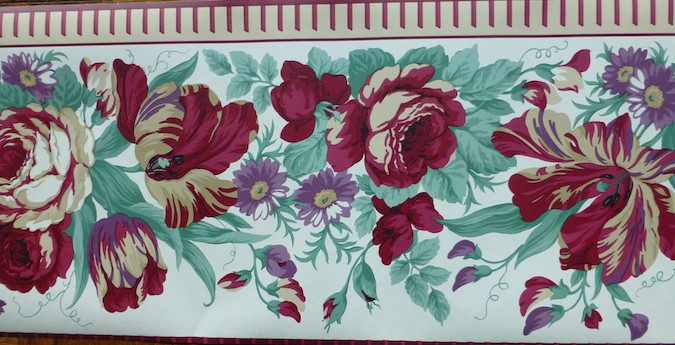 Waverly Floral Wallpaper Border in Red & Green