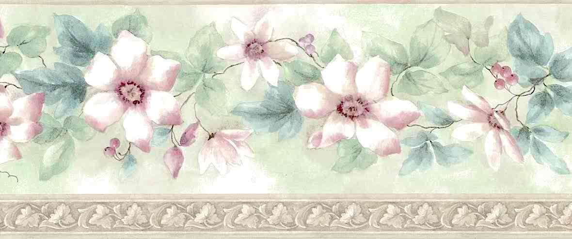 Dogwood Floral Wallpaper Border in Pink, Green & Cream