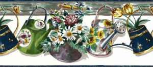 Vintage Watering Cans Wallpaper Border with Flowers on White