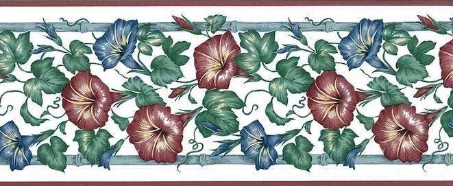 Blue morning Glories vintage Wallpaper Border, Red, White, cottage, trellis