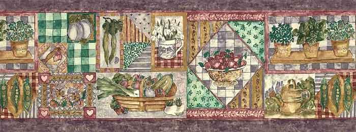 Purple Vegetable Wallpaper Border in collage styie