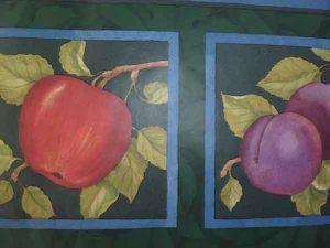 Green Framed Fruit Vintage Wallpaper Border