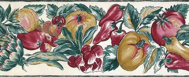 Vintage Vegetable Wallpaper Border with peppers, radishes, tomatos +