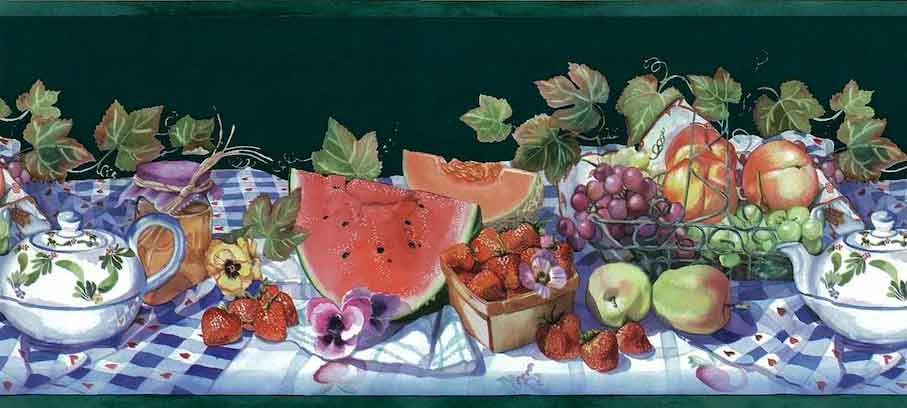 Vintage Green Picnic Wallpaper Border with Fruit on a Tablecloth